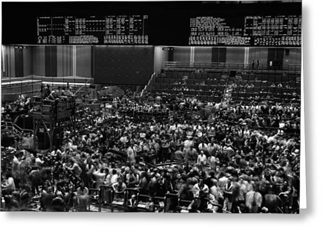 Grayscale Panoramic View Of Chicago Mercantile Exchange Greeting Card