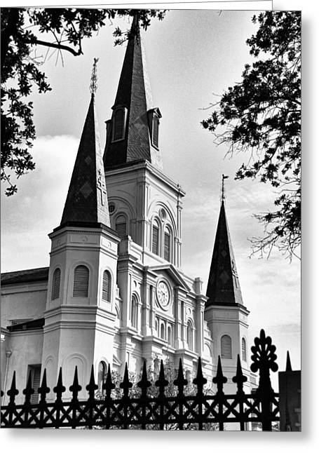 Grayscale St. Louis Cathedral Greeting Card