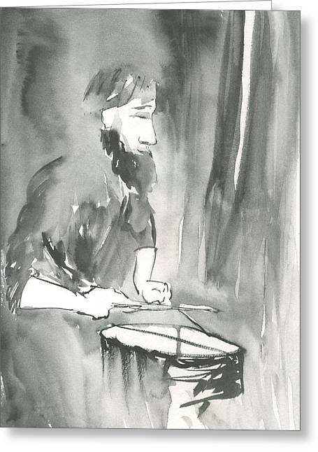 Grayscale Study Of Matthew Smith Greeting Card