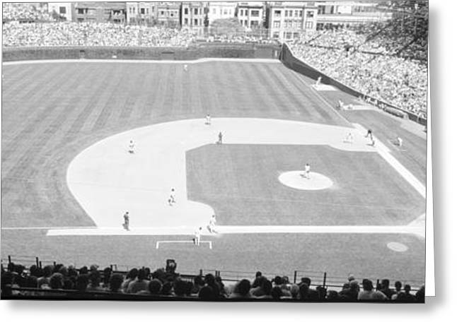 Grayscale Wrigley Field, Chicago, Cubs Greeting Card by Panoramic Images