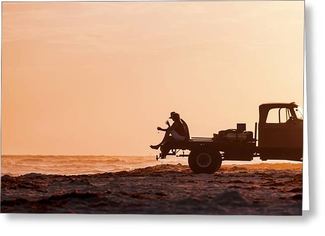 Grayton Beach Flatbed Sunset Greeting Card