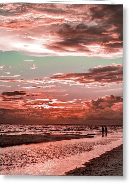 Grayton Red Sunset Greeting Card