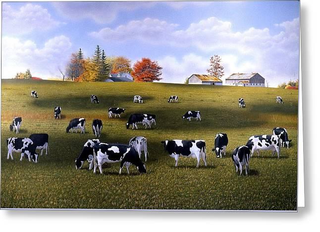 Grazing Holsteins Greeting Card by Conrad Mieschke