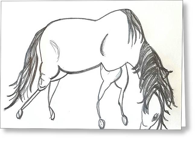 Grazing Horse - Minimal Sketch Greeting Card