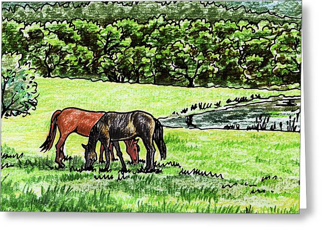 Grazing Horses At The Ranch Watercolor Greeting Card