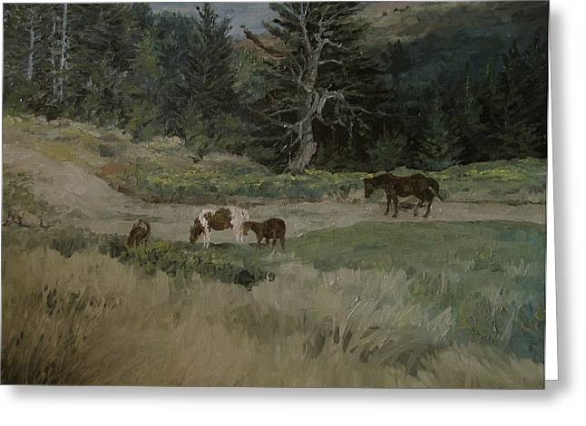 Grazing Greeting Card by Richard Ong