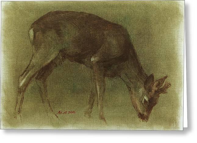 Grazing Roe Deer Oil Painting Greeting Card