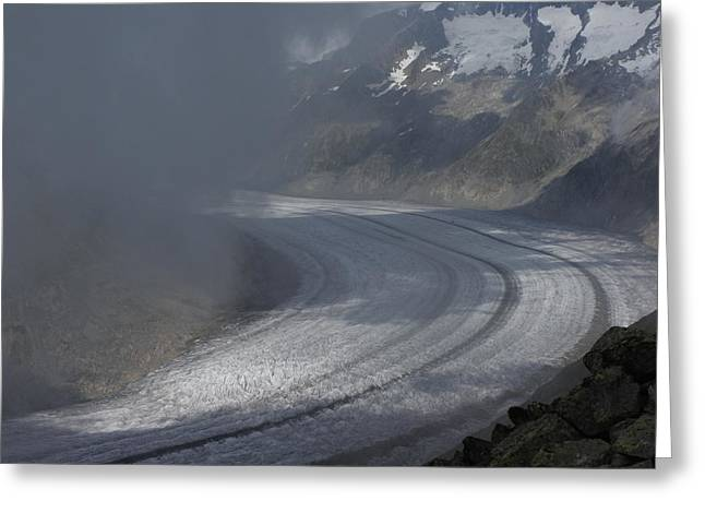 Great Aletsch Glacier In The Clouds. Canton Of Valais, Switzerland. Greeting Card