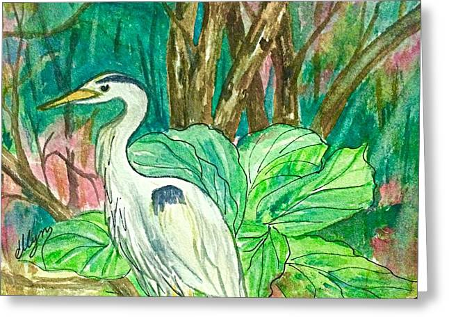 Great Blue Heron Backyard Visitor  Greeting Card by Ellen Levinson