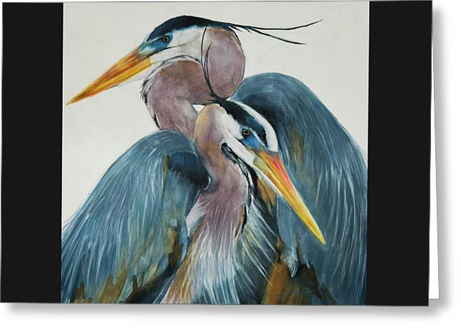 Great Blue Heron Couple Greeting Card