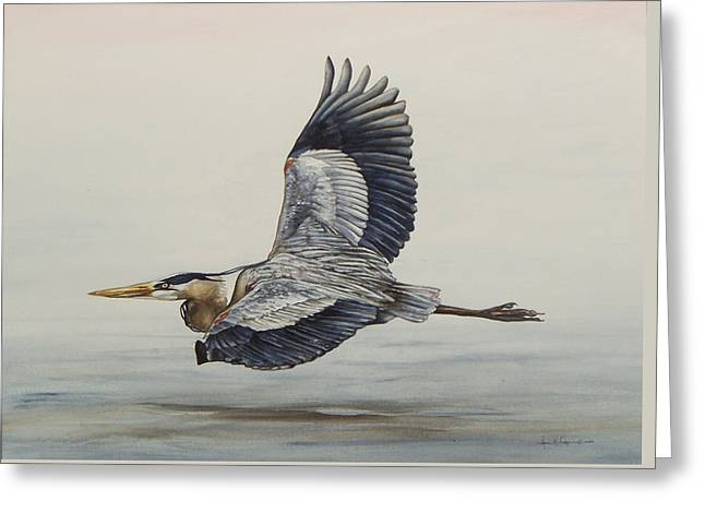 Great Blue Heron Flying Greeting Card