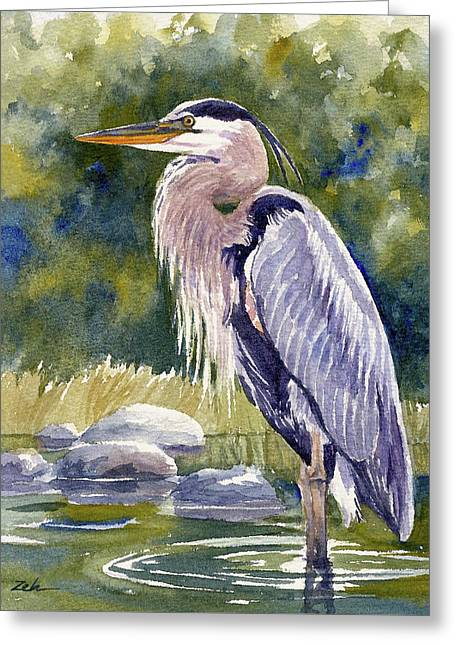 Great Blue Heron In A Stream Greeting Card
