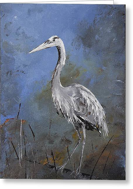 Great Blue Heron In Blue Greeting Card by Carolyn Doe