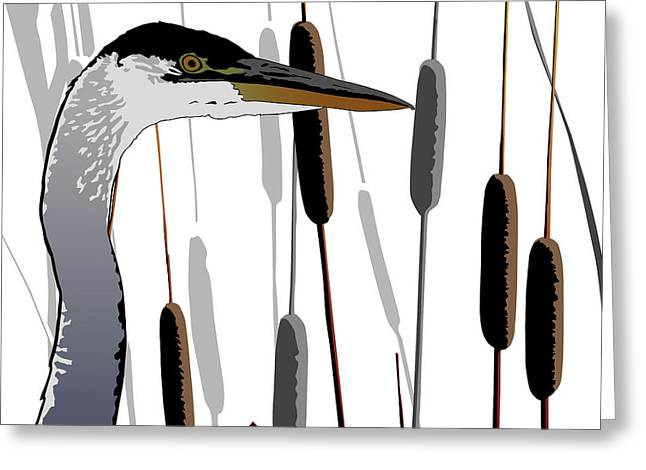 Great Blue Heron - Light Background Greeting Card