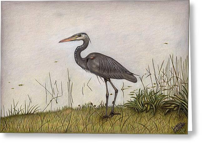 Great Blue Heron Greeting Card by Lorrie Cerrone