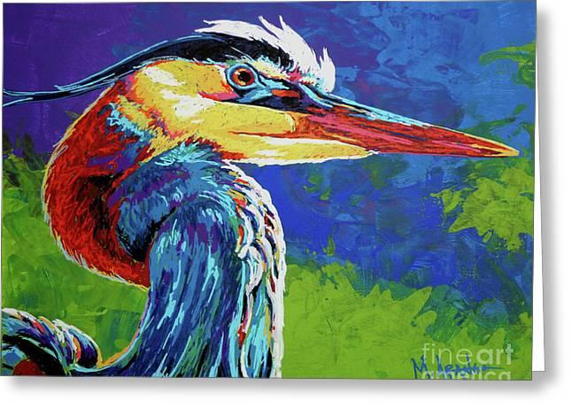 Great Blue Heron Greeting Card by Maria Arango