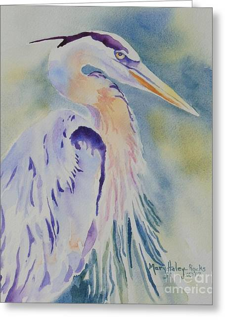 Greeting Card featuring the painting Great Blue Heron by Mary Haley-Rocks