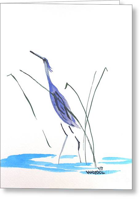 Great Blue Heron - Minimalism Watercolor Greeting Card