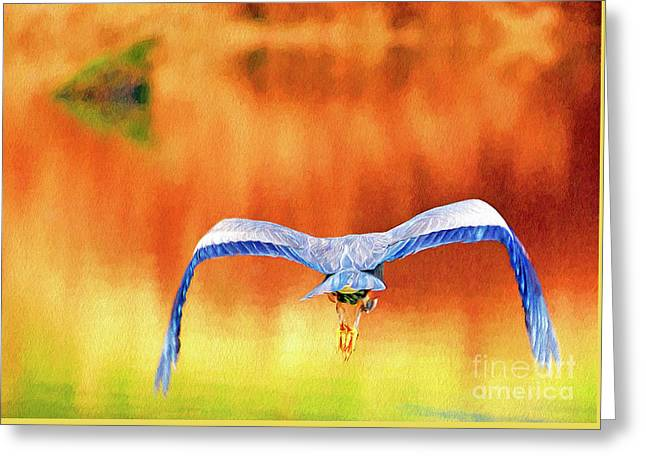 Greeting Card featuring the digital art Great Blue Heron Winging It Photo Art by Sharon Talson