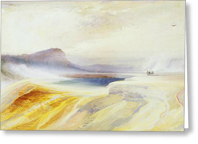 Great Blue Spring Of The Lower Geyser Basin Greeting Card by Thomas Moran