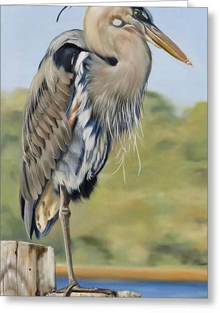 Great Blue Heron Standing Greeting Card