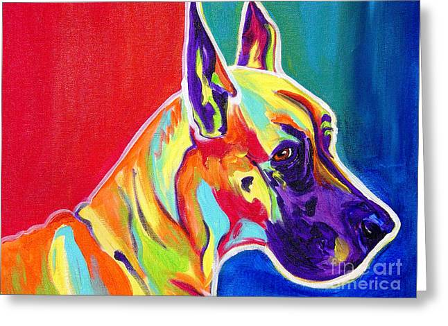Great Dane - Rainbow Dane Greeting Card by Alicia VanNoy Call
