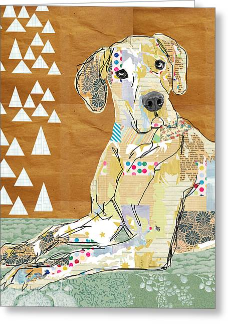 Great Dane Collage Greeting Card by Claudia Schoen