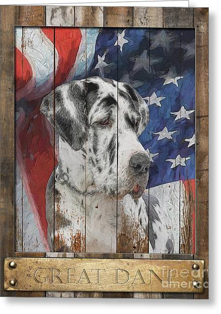 Great Dane Flag Poster Greeting Card by Tim Wemple