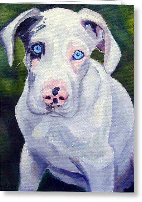 Great Dane Harlequin Puppy Greeting Card by Lyn Cook