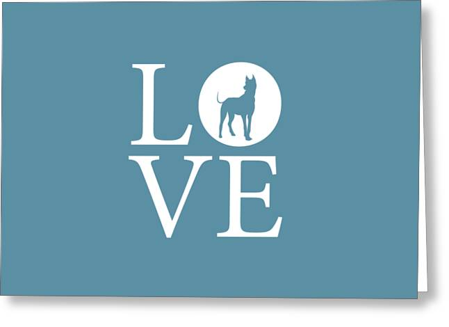 Great Dane Love Greeting Card by Nancy Ingersoll