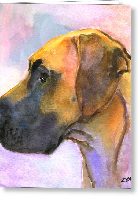 Great Dane Greeting Card by Mary Jo Zorad