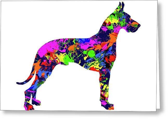 Great Dane Paint Splatter Greeting Card by Gregory Murray