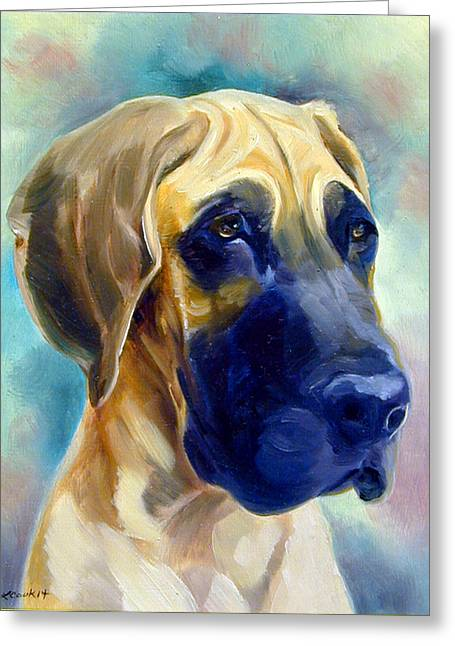 Great Dane Pup Greeting Card by Lyn Cook