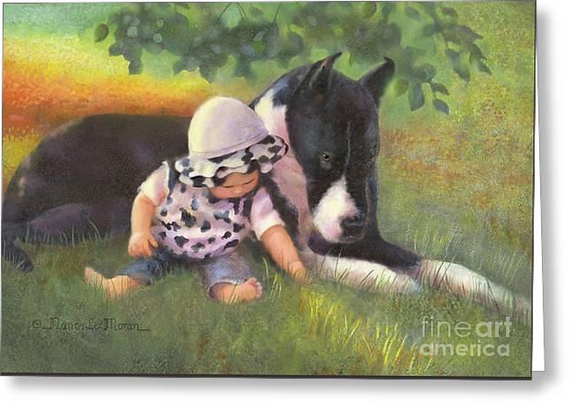 Great Dane With Baby Greeting Card by Nancy Lee Moran