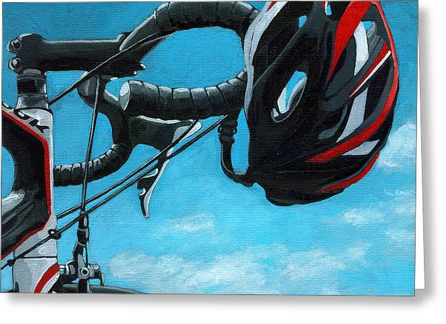 Linda Apple Paintings Greeting Cards - Great Day - bicycle oil painting Greeting Card by Linda Apple