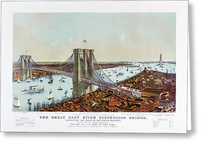 Great East River Suspension Bridge 1892 Greeting Card