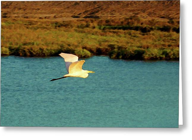 Greeting Card featuring the digital art Great Egret In Flight by Timothy Bulone