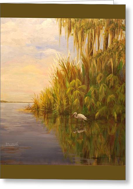 Great Egret On Marsh Greeting Card by Beth Maddox