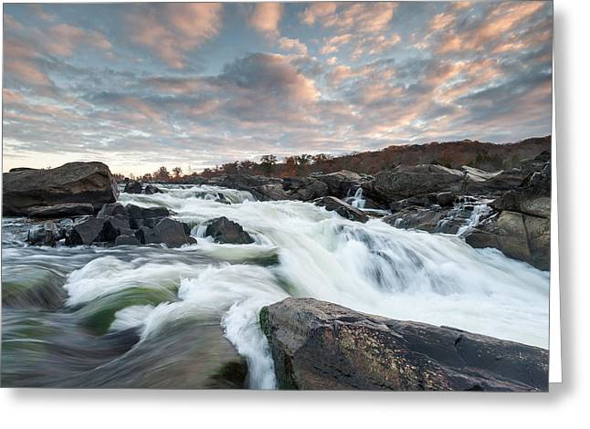 Great Falls Sunrise Over The Potomac River Greeting Card by Mark VanDyke