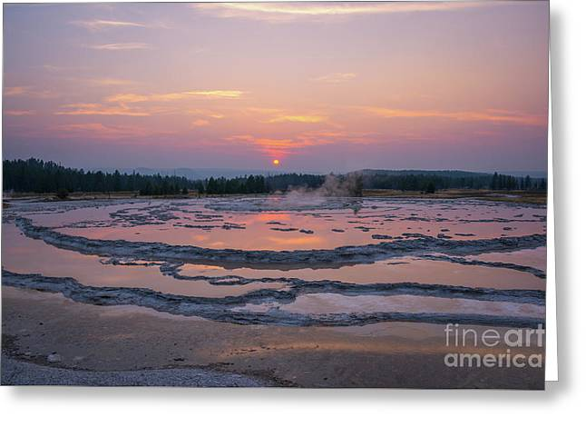 Great Fountain Geyser Sunset Reflections Greeting Card