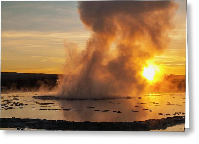 Great Fountain Geyser Sunset - Yellowstone National Park Greeting Card by Brian Harig