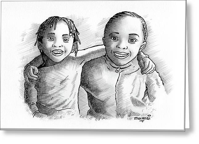 Great Friends Greeting Card by Anthony Mwangi