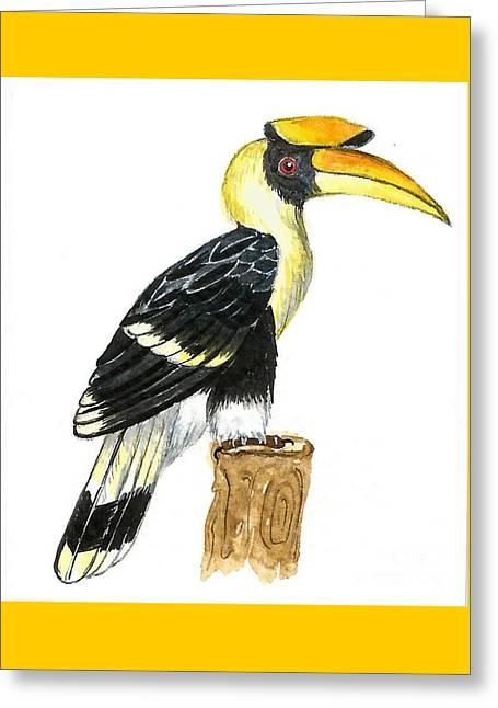 Great Hornbill Greeting Card by Ketki Fadnis