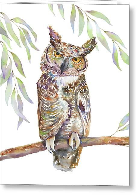 Great Horned Owl  Greeting Card by Amy Kirkpatrick