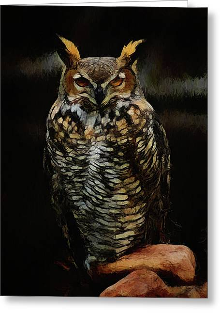 Great Horned Owl Da Greeting Card by Ernie Echols