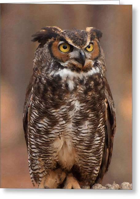 Great Horned Owl Digital Oil Greeting Card by Chris Flees
