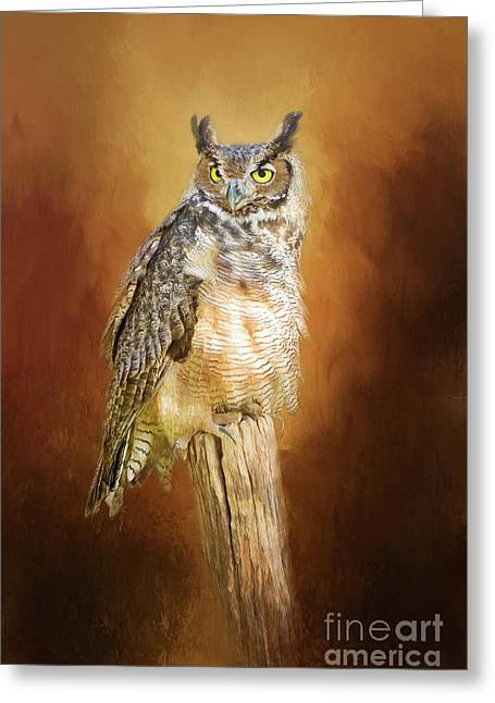 Great Horned Owl In Autumn Greeting Card