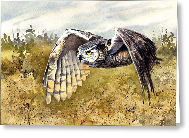 Great Horned Owl In Flight Greeting Card by Sam Sidders