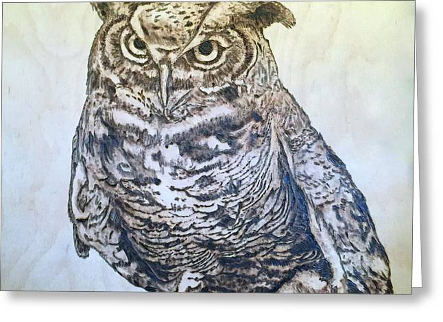 Great Horned Owl Greeting Card by James Pinkerton
