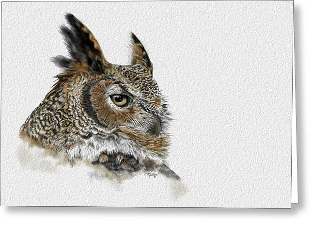 Great Horned Owl Greeting Card by Kathie Miller